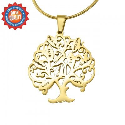 Personalisierte Tree of My Life Halskette 10 18 Karat Gold überzogen