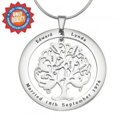 Personalisierte Tree of My Life Washer Halskette 10 Sterling Silber
