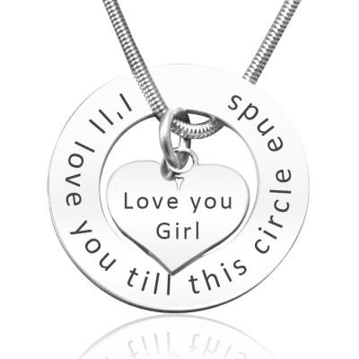 Personalisierte Kreis Mein Herz Halskette Sterlingsilber