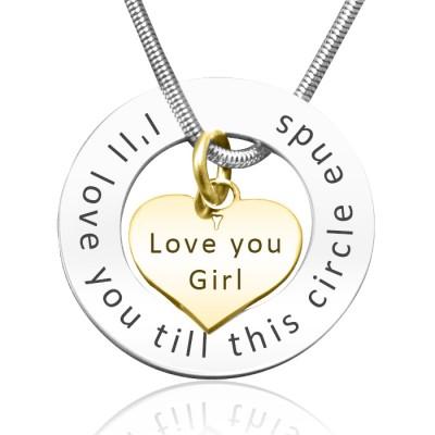 Personalisierte Kreis Mein Herz Halskette zwei Ton Herz in Gold