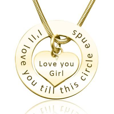 Personalisierte Kreis Mein Herz Halskette 18 karätigem Gold überzogen