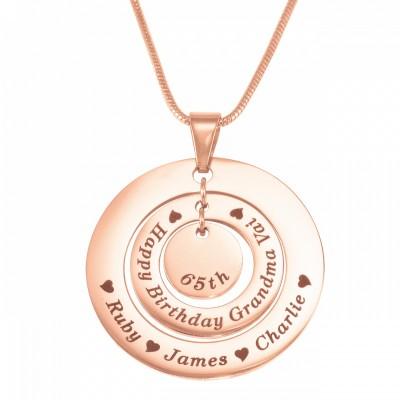 Personalisierte Kreise der Liebe Halskette 18ct Rose Gold überzogen