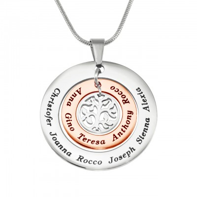 Personalisierte Kreise der Liebe Halskette ZWEI TON Rose Gold Silber