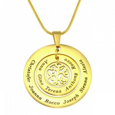 Personalisierte Kreise der Liebe Halskette Baum 18 karätigem Gold überzogen