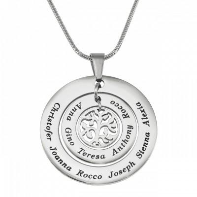 Personalisierte Kreise der Liebe Halskette Baum Silber