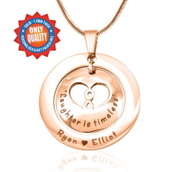Personalisierte Unendlichkeit Dome Halskette 18ct Rose Gold überzogen