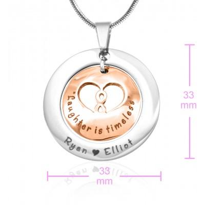 Personalisierte Unendlichkeit Dome Halskette Zwei Ton Rose Gold Dome Silber