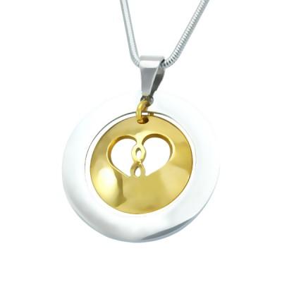 Personalisierte Unendlichkeit Dome Halskette Zwei Ton Gold Dome Silber