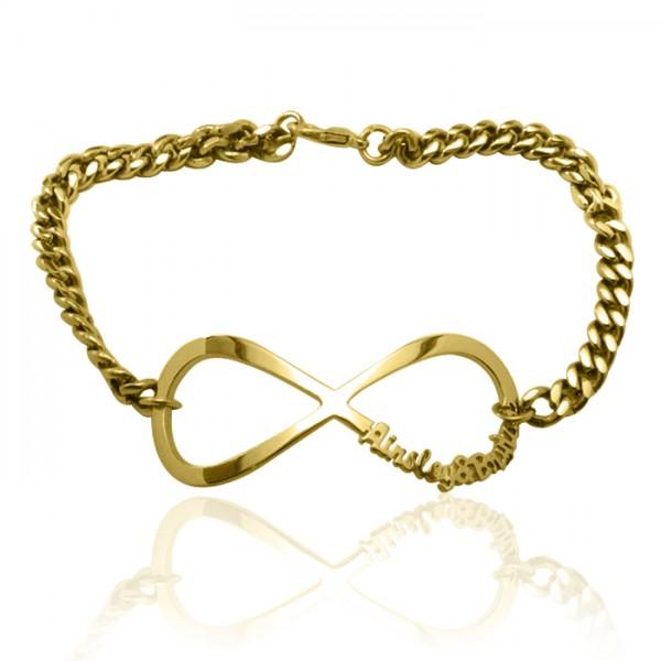 Personalisierte Unendlichkeit Name Armband / Fußkette 18 karätigem Gold überzogen