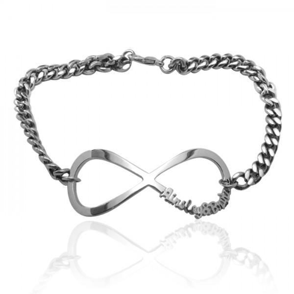 Personalisierte Unendlichkeit Namen Armband / Fußkette Sterling Silber