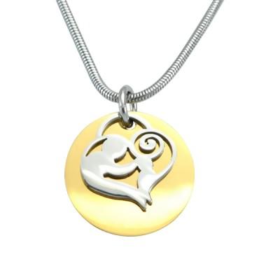 Personalisierte Mutter Disc Einzel Halskette Two Tone Gold, Silber,