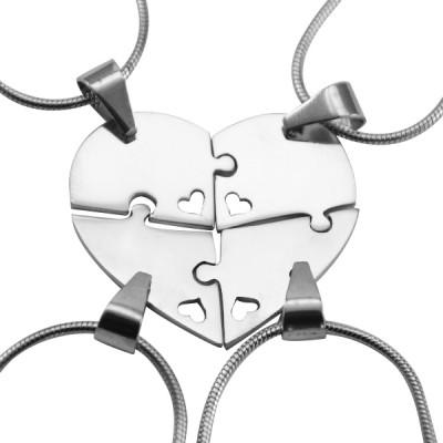 Personalisierte Quad Herz Puzzle Vier Personalisierte Ketten