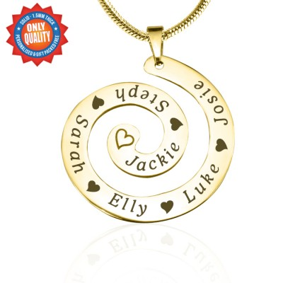 Personalisierte Strudel der Zeit Halskette 18 karätigem Gold überzogen