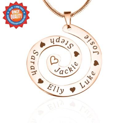 Personalisierte Strudel der Zeit Halskette 18ct Rose Gold überzogen
