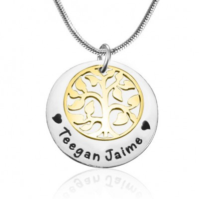 Personalisierte My Family Tree Single Disc Two Tone Gold, Silber,
