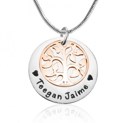 My Family Tree Single Disc Personalisierte Zwei Ton Rose Gold Silber