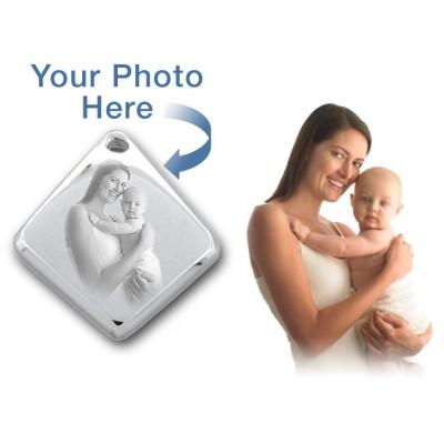 925 Sterlingsilber Diamant 3D Foto / Bild gravierte Anhänger Gewohnheit