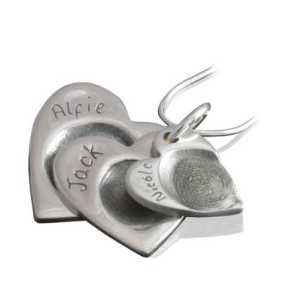 925 Sterlingsilber Fingerabdruck Cascade Triple Herz Anhänger