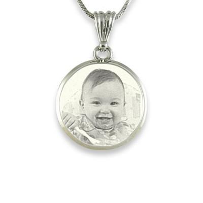 925 Sterlingsilber Foto Im Kreis Anhänger mit Halskette