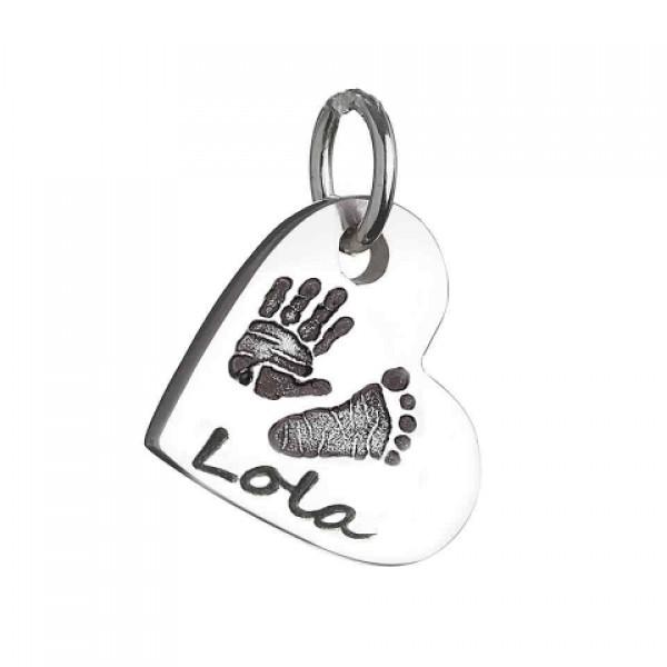 925 Sterling Silber Hand / Abdruck Herz Charme Halskette