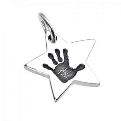 925 Sterling Silber Hand / Fußabdruck Stern Anhänger
