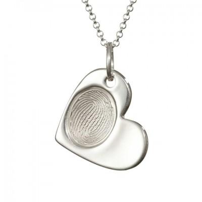 925 Sterlingsilber Fingerabdruck Cascade Herz Anhänger