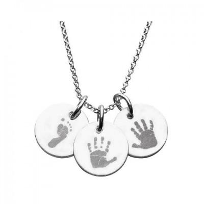 925 Sterling Silber Hand / Abdruck Gravierte Disc Anhänger