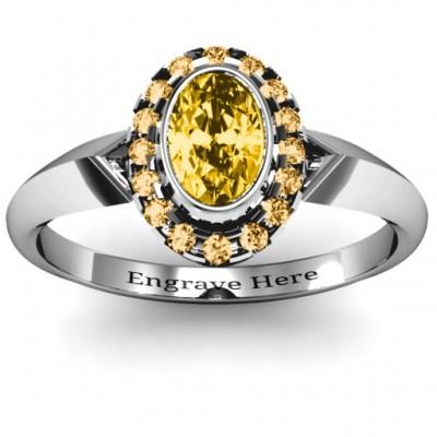 Königliche Lünette Oval Cluster Ring