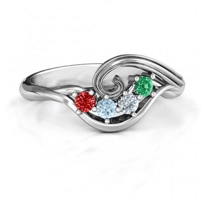 3 bis 8 Stein Swirl Ring