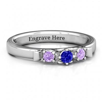 3 Stein Ring mit Herz Galerie