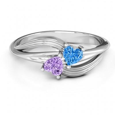 Ein Paar von Herz Ring mit Cubic Zirkonia Steinen