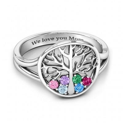 Immer um die Liebe 6 Stein Family Tree Ring