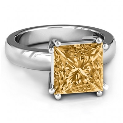 Basket Set Princess Cut Solitaire Ring