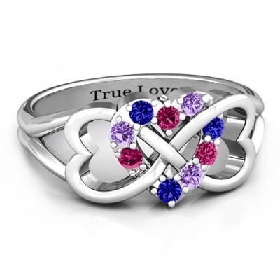 Geburtsstein Dreifacher Herz Infinity Ring