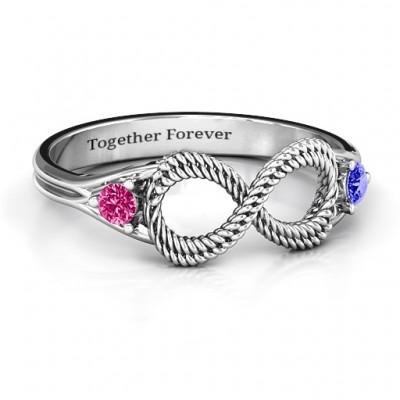 Geflochtene Infinity Ring mit zwei Steinen