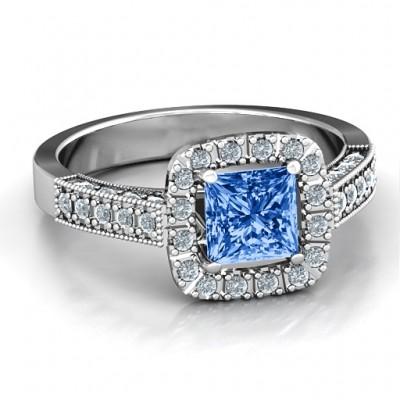 Brilliant Princess Ring mit Profil Akzente