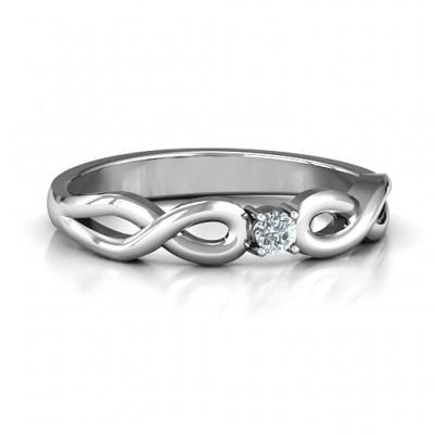 Klassische Solitare Sparkle Ring mit Infinity Band