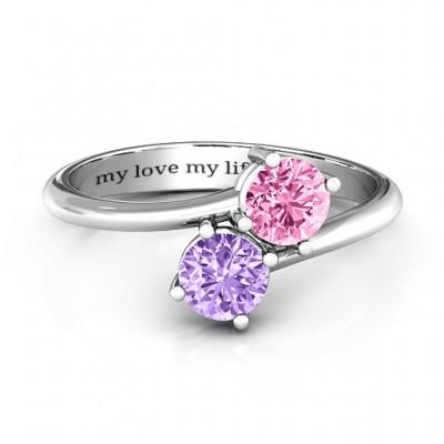 Bestimmend für Liebe Doppeledelstein Ring