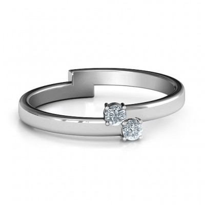 Diagonal Dazzle Ring mit 2 3 Gemstones