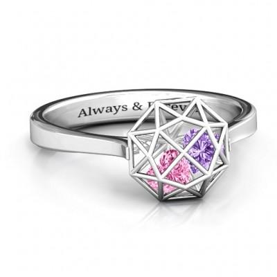 Diamant Ring Cage mit Encased Herz Steine