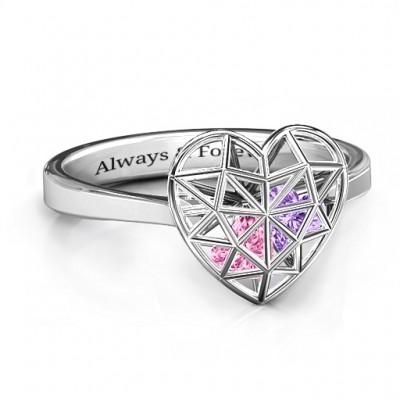 Diamant Herz Cage Ring mit Encased Herz Steinen