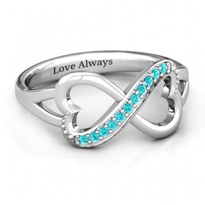 Doppel Herz Infinity Ring mit Akzenten