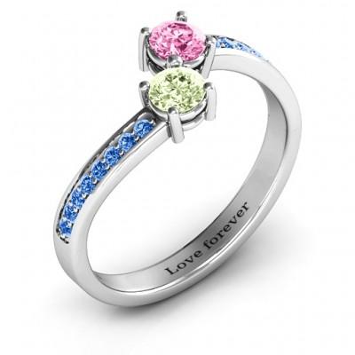 Elegantes Accent Zwei Stein Ring