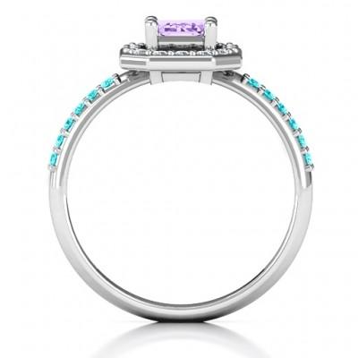 Smaragd Schnitt Cocktail Ring mit Halo