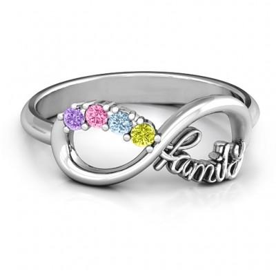 Familie Unendliche Liebe mit Steinen Ring