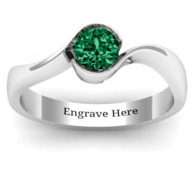 Fancy Solitaire Swirl Ring