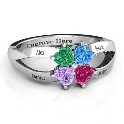Vier Klee Herz Ring