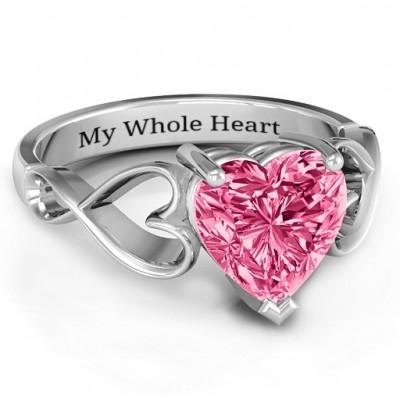 Heart Shaped Stein mit Interwoven Herz Infinity Band Ring