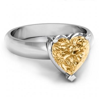 Herz Stein in einer Doppel Galerie Einstellungs Ring