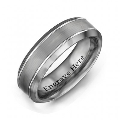 Männer Schrägkante Brushed Center Tungsten Ring